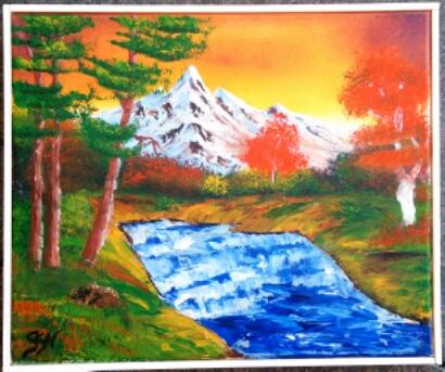 Ölgemälde: Herbstwald und rauschender blauer Fluss im Vordergrund, weißer Berg mit zartem rosa Schein im Hintergrund