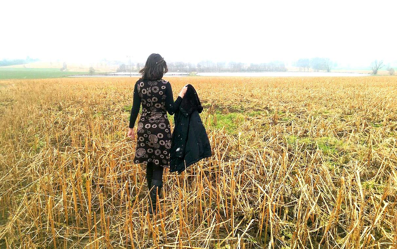 Jersey Kleid in schwarz-braun ohne Ärmel