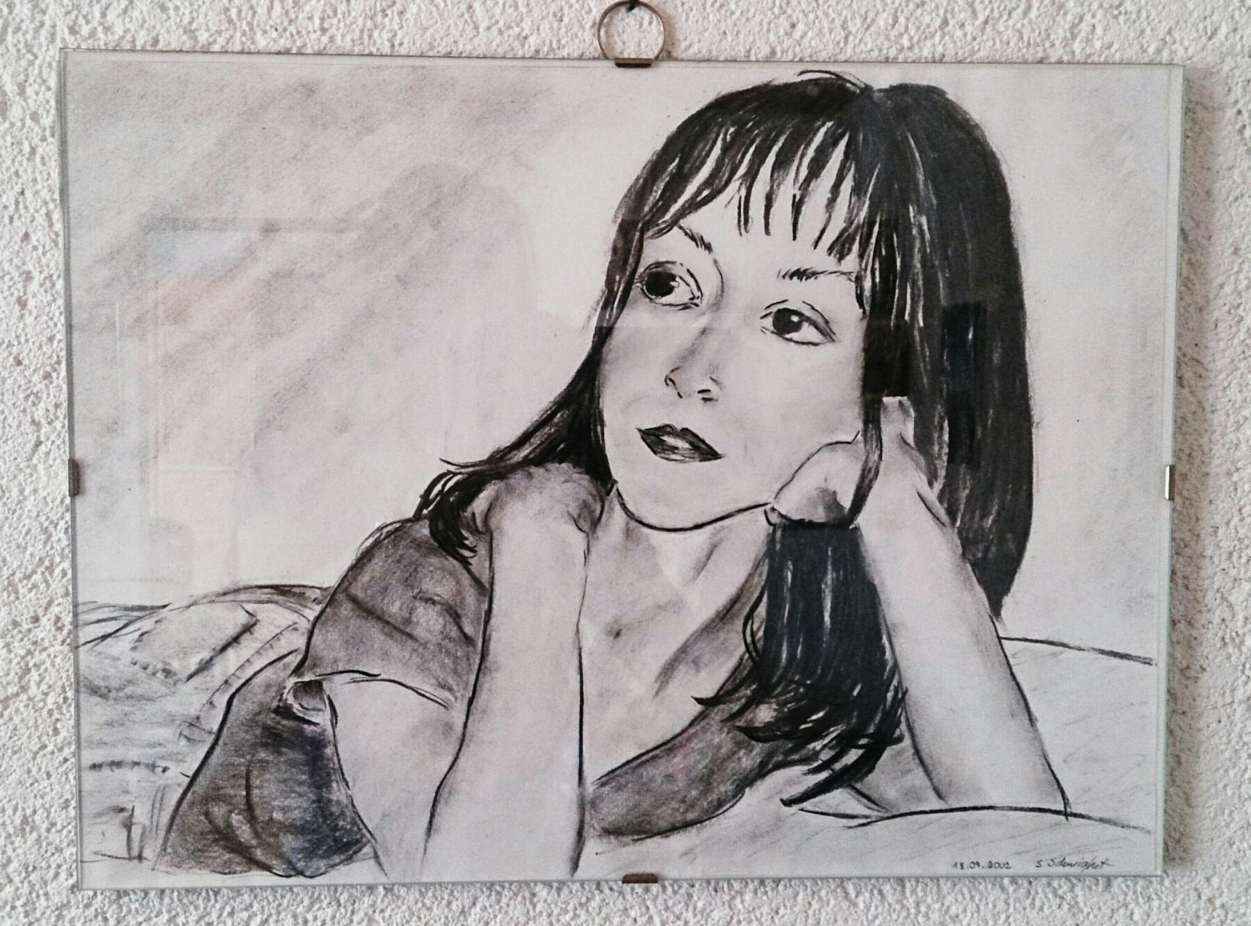 """verschiedenArt: Selbstportrait """"Rückblick"""" - Kohle auf Papier"""