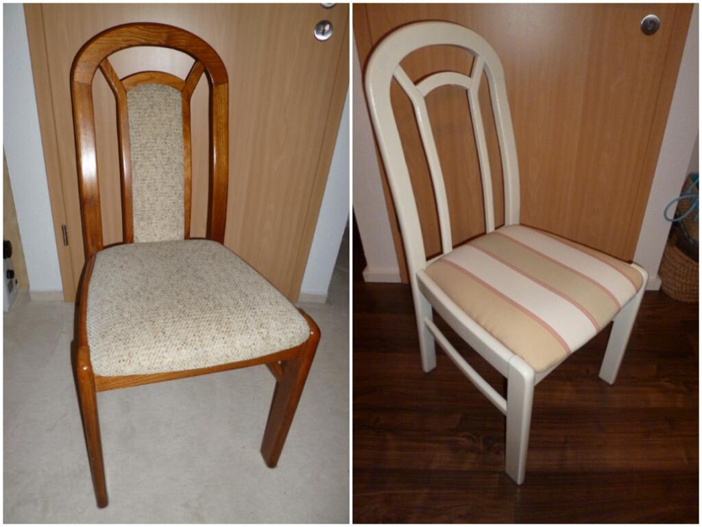 Erbstück Upcycling - vorher und nachher: der Stuhl wird ins 21. Jahrhundert katapultiert