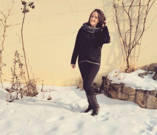 verschiedenArt: Oversize Pullover zum Wenden - schwarz burda 109 10/2015