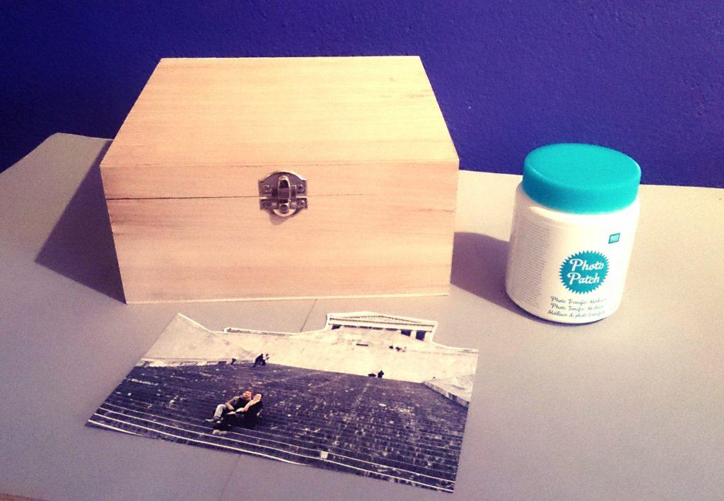 DIY Fototransfer Geschenk zum Valentinstag: Foto auf Holzbox übertragen, Zutaten: Potch, Holzbox, Foto