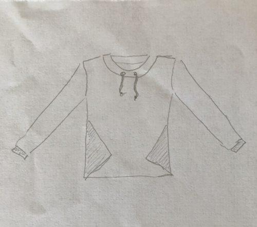 Schnittmusterzeichnung von dem Sweater Pullover wie er werden sollte und geworden ist.