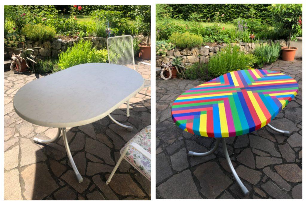 Der Gartentisch im vorher-/nachher-Vergleich. links weiß, rechts mit bunten Streifen aus Acrylfarbe bemalt.